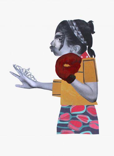 Many crowns - 2018, technique mixte et collage sur papier 76,5 x 56 cm