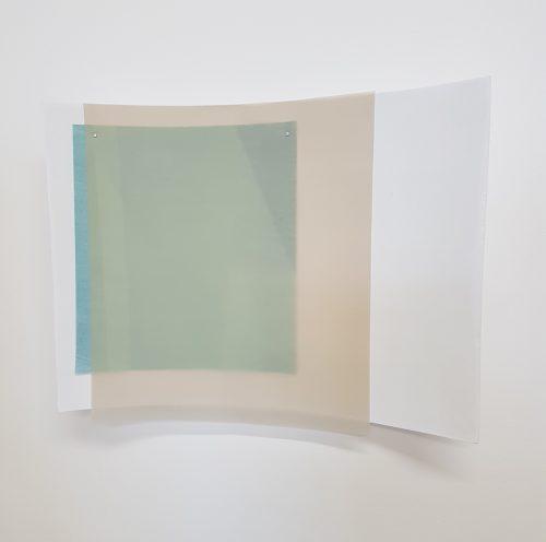 Sans titre (texture) - 2018, carton plume, enduit, papier, papier calque, 53 x 40 cm