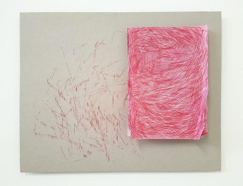 sans titre (Hachurage) - 2018, papiers, bic, carton, 50 x 80 x 3 cm.