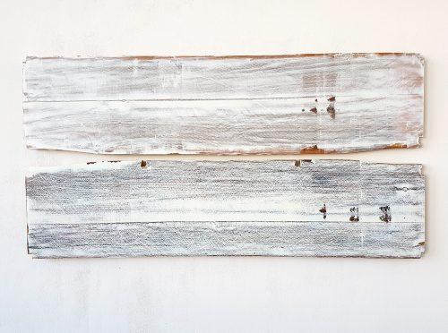 Sans titre (Miroir) - 2019, panneau de bois, bic, aquarelle, 130 x 80 x 5 cm