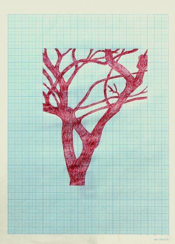Untitled - 2017, ballpoint pen on graph paper, 36 x 26 cm