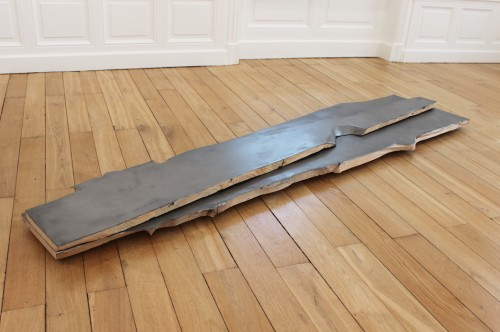 Untitled - 2017, wood, coating, graphite, 197 x 50 x 8 cm