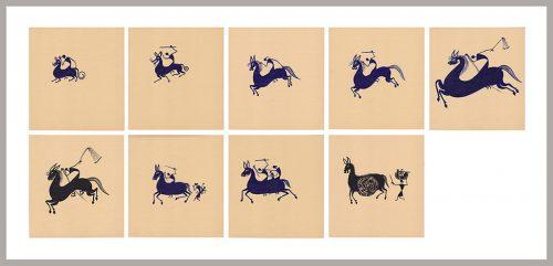 Shantaram Tumbada - Sans titre, 1990s,  9 encres sur papier, 55 x 120 cm