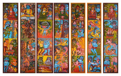 Farid Chitrakar - Yama pat série, acrylique sur papier, 2015, 290 x 55 cm