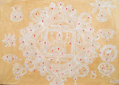 Monju Devi - Sans titre, 1999, acrylique et bouse de vache sur papier, 70 x 100 cm
