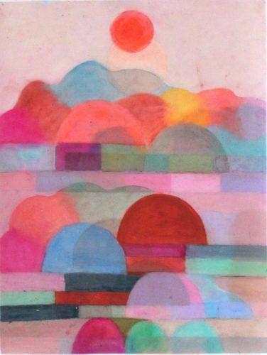 Layered landscape - 2018, pastel gras et crayon sur papier calque, 45,8x35 cm