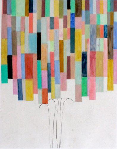 Willow 11 - 2018, pastel gras et crayon sur papier calque, 85 x 63,5 cm
