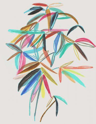 Plant - 2018, pastel gras sur papier calque, 174 x 137 cm