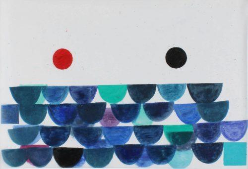 Blue Mood - 2018, pastel gras sur papier calque, 61 x 92 cm