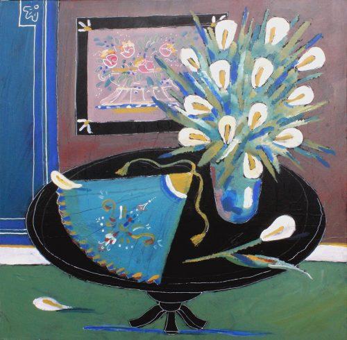 Éventail bleu - 2013, acrylique sur toile, 70 x 70 cm