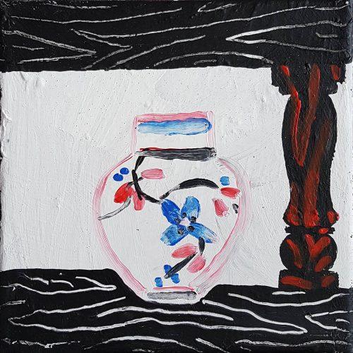 Sans titre - Petit vase - 2018, acrylique sur toile, 20 x 20 cm