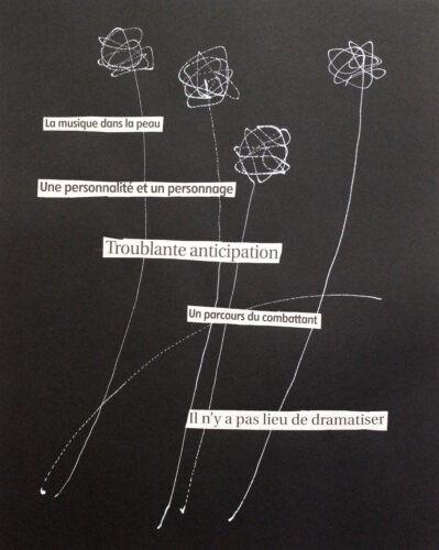La musique dans la peau - 2020, mixte sur papier, 64 x 49 cm