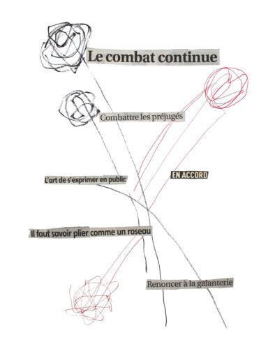 Le combat continue - 2020, mixte sur papier, 64 x 49 cm
