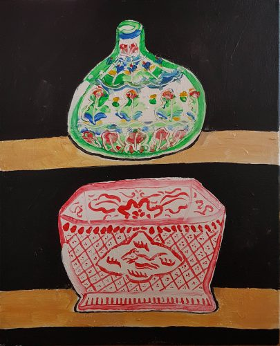Sans titre - Deux vases - 2018, acrylique sur toile, 61 x 50 cm