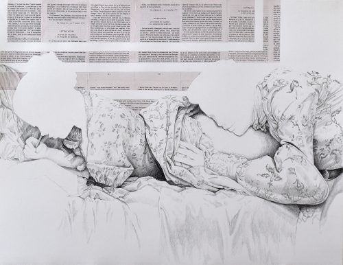 L'image des mots - 2019, crayon et collage sur papier, 57 x 76 cm