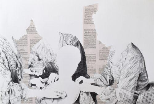 L'image des mots - 2019, crayon et collage sur papier, 77 x 112 cm